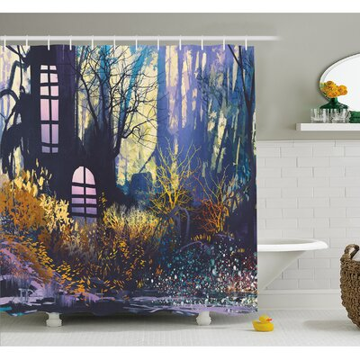 Mystical House A in Tree Trunk with Windows Lost City Animation Print Shower Curtain Set Size: 75 H x 69 W