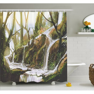 Cascade Stream Flows into Creek in Real like Secret Paradise Paint Shower Curtain Set Size: 70 H x 69 W