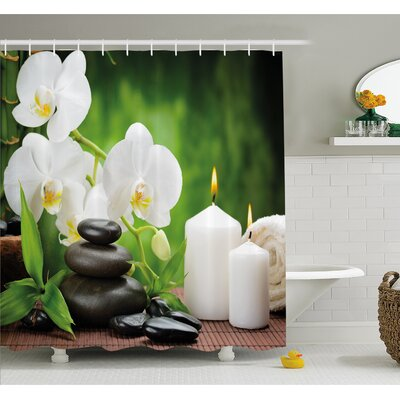 Spa Zen Stones with Orchid and Burning Candles in a Romantic Harmony Shower Curtain Set Size: 75 H x 69 W
