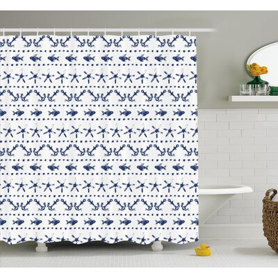 Yatch Themed Design with Fish Starfish and Anchor Nautical Print Shower Curtain Set Size: 75 H x 69 W