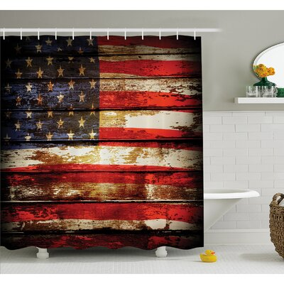 Us Symbolism over Old Rusty Tones Weathered Vintage Social Plank Artwork Shower Curtain Set Size: 84 H x 69 W