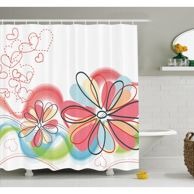 Cute Floral Haze Pattern with Heart Figures Love Spring Influences Art Work Shower Curtain Set Size: 75 H x 69 W