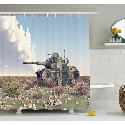 War American Camouflage Tank of the Cold War Historical Facts Battle Art Picture Shower Curtain Set Size: 84 H x 69 W