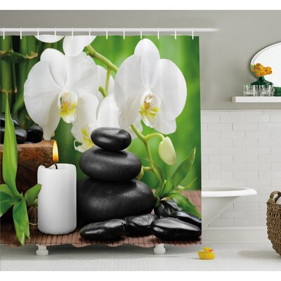 Spa Zen Hot Massage Stones with Orchid Candles and Magnificent Nature Shower Curtain Set Size: 70 H x 69 W