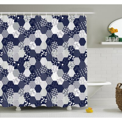 Octagon Patchwork Style Pattern Image with Dots Stars Squares Stripes Shower Curtain Set Size: 84 H x 69 W