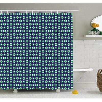 Cute Floral and Point Design with Round Abstract Pattern Shower Curtain Set Size: 84