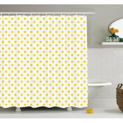 Picnic Like Cute 50s 60s 70s Themed Spotted Pattern Print Shower Curtain Set Size: 84 H x 69 W