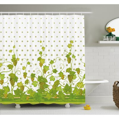 Grapes Flowers Cluster Sherry Leaf Province Garden Retro Refreshing Tasty Countryside Shower Curtain Set Size: 70 H x 69 W
