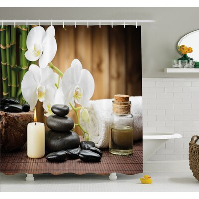 Spa Asian Style Decoration with Zen Stones Candle Flowers and Bamboo Shower Curtain Set Size: 84 H x 69 W