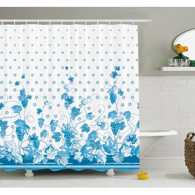 Grapes Victorian Swirling Motif Monochrome Spotted Kitsch Nostalgic Vivid Image Shower Curtain Set Size: 84 H x 69 W