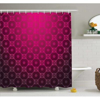 Medieval Style Endless Bound Square Shaped Stripe Middle Age Damask Motif Shower Curtain Set Size: 70 H x 69 W
