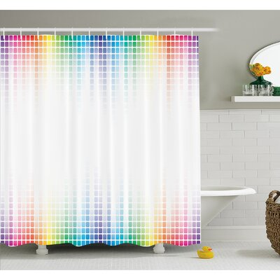 Digital Art Musical Volume Tone Abstract Picture Little Square Mosaic Tiles Shower Curtain Set Size: 70 H x 69 W
