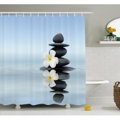 Spa Zen Massage Hot Stones with Asian Frangipani Plumera Reflection on Water Shower Curtain Set Size: 70 H x 69 W