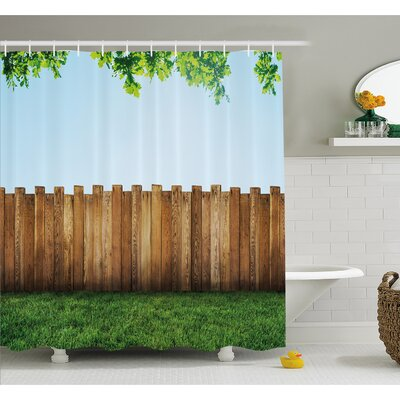 Farm House Rustic Plank over Field Meadow Tranquil Nature Yard Neighborhood Image Shower Curtain Set Size: 75 H x 69 W