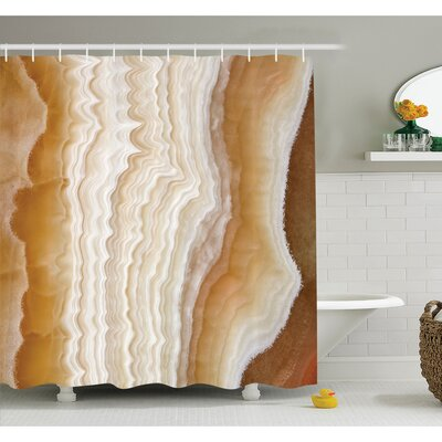 Odd Wavy Marble Pattern with New Lines and Shapes Digital Nature Computer Art Shower Curtain Set Size: 75 H x 69 W