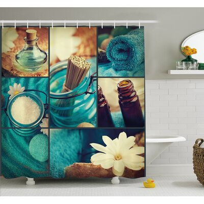 Spa Themed Daisies Scents Towels and Incense Artwork Collage Shower Curtain Set Size: 84 H x 69 W