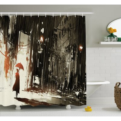Fantasy Art House Umbrella in Rain Old Town Ruins Apocalypse Superhero Print Shower Curtain Set Size: 75 H x 69 W
