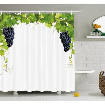 Grapes Wine Leaf with Loose Bunch of Large Berries Tannin Breed French Village Shower Curtain Set Size: 84 H x 69 W