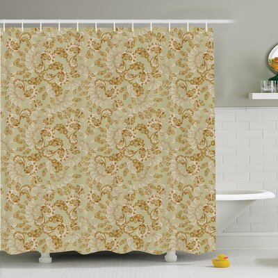 Paisley Bohemian Shower Curtain Set Size: 75 H x 69 W