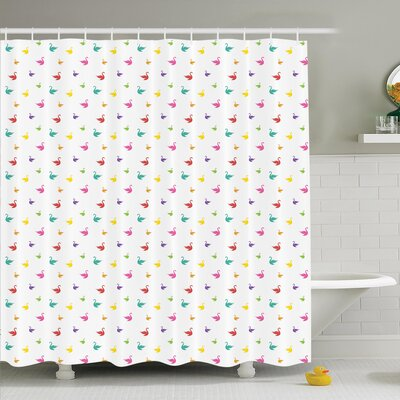 Animal Rainbow Colored Swans Shower Curtain Set Size: 84 H x 69 W