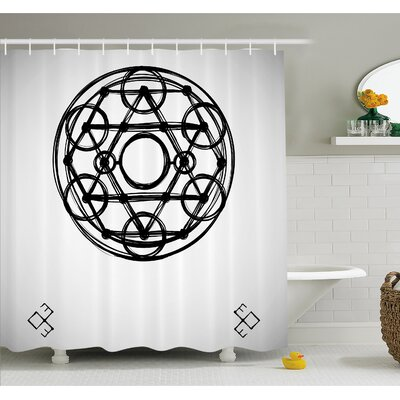 Minimalist Rounds Form Multiple Symmetrical Triangles Occult Concept Shower Curtain Set Size: 75 H x 69 W