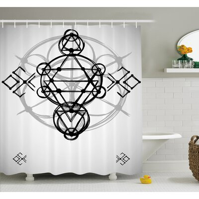 Simplistic Seed of Life Symbol with Vortex Motion with Spheres Print Shower Curtain Set Size: 84 H x 69 W