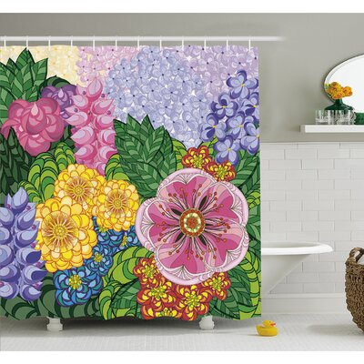 Nature Flower Petals Florets Vintage Romantic Buds Summer Blooms Feminine Shower Curtain Set Size: 84 H x 69 W