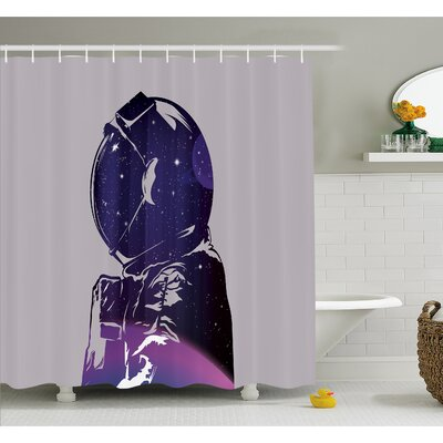 Outer Space Exposure of Cosmonaut Made Star Clusters Celestial Body Side Graphic Shower Curtain Set Size: 84 H x 69 W