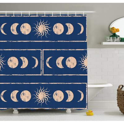Grungy Ethnic Design of Planetary with Sun Moon Phases of Mystery Shower Curtain Set Size: 75 H x 69 W