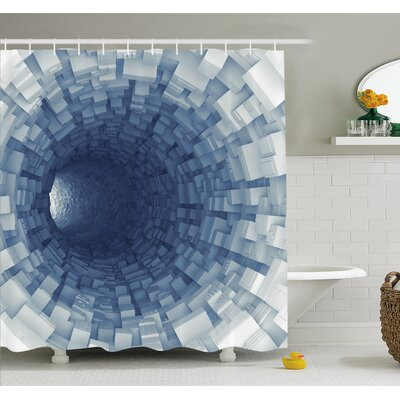 Outer Space Endless Tunnel with Fractal Square Shaped Segment Digital Dimension Artwork Shower Curtain Set Size: 75 H x 69 W