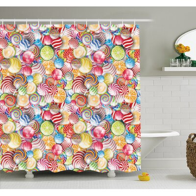 Spiral Sugar Candy Sweets Lolly Pops Dessert Fun Girls Kids Nursery Theme Shower Curtain Set Size: 75 H x 69 W