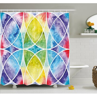Design of Egyptian Surrounding Partial Circular Arcs with Motley Effects Shower Curtain Set Size: 70 H x 69 W