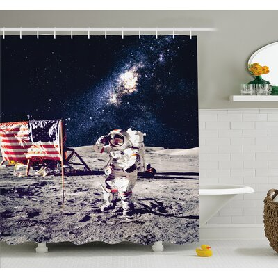 Outer Space American Spaceman on Moon Future Solar Discovery in Deep Technology View Shower Curtain Set Size: 84 H x 69 W