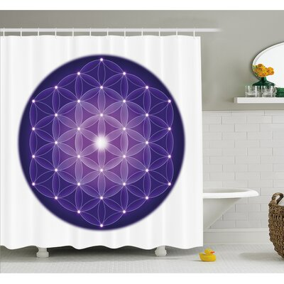 Flower Life Design of Ancient Traditions with Point Stars Archaic Motif Shower Curtain Set Size: 75 H x 69 W