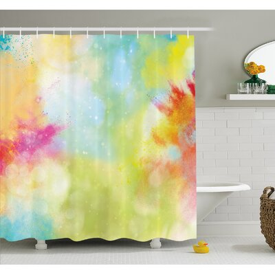 Cloudy Milk Way Like Blur Smokey Color Explosion Dust Powder Art Boho Print Shower Curtain Set Size: 84 H x 69 W