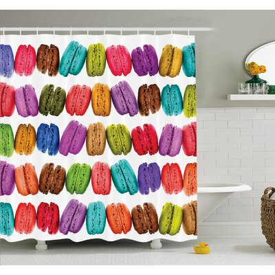 French Macarons in a Row Coffee Shop Cookies Flavors Pastry Bakery Design Shower Curtain Set Size: 84 H x 69 W