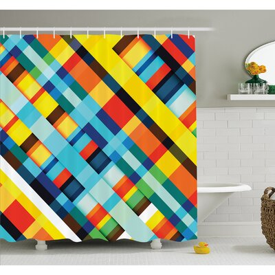 Vivid Lines Stripes with Diagonal Elements Retro Layout with Modern Touch Shower Curtain Set Size: 70 H x 69 W