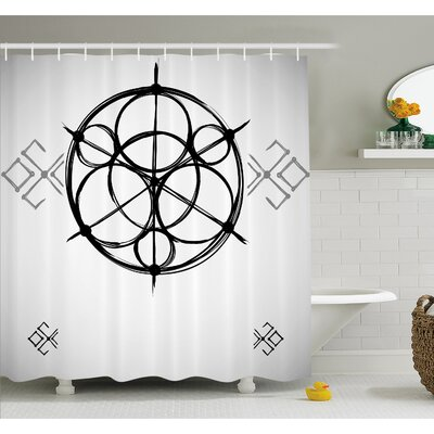 Sketchy Geometric Plan with Swirled Spiral Origins Cosmos Universe Decor Shower Curtain Set Size: 75 H x 69 W