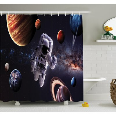 Outer Space Astronaut Between Planets Mars Neptune Jupiter Plasma Ethereal Sphere Picture Shower Curtain Set Size: 70 H x 69 W