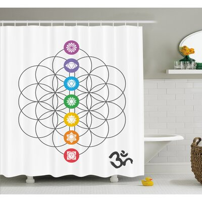 Chakra Points in Vintage Concentric Rings of Partial Circle Zen Image Shower Curtain Set Size: 75 H x 69 W