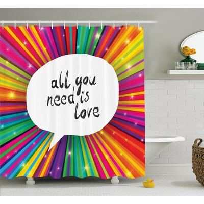 All You Need is Love Inspirational Quote Speech Bubble Hippie Retro Poster Print Shower Curtain Set Size: 75 H x 69 W