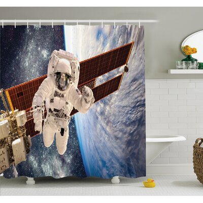 Outer Space International Station Global Communication Orbiting over Earth Rocket Photo Shower Curtain Set Size: 70 H x 69 W