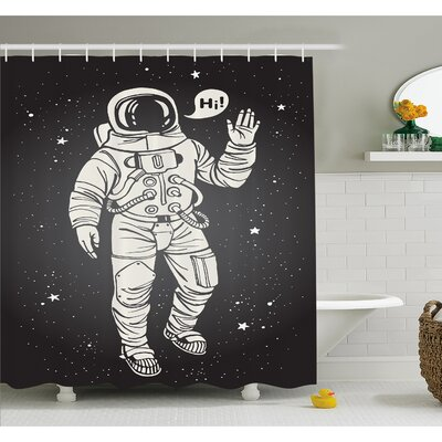 Outer Space Pop Art Astronaut Saluting with Speech Bubble Comet Adventure Traveler Shower Curtain Set Size: 70 H x 69 W
