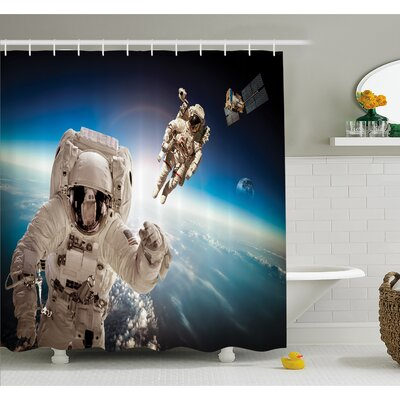 Outer Space Cosmonaut Crew in the Universe Astronomy Atmosphere Astral Journey Image Shower Curtain Set Size: 75 H x 69 W