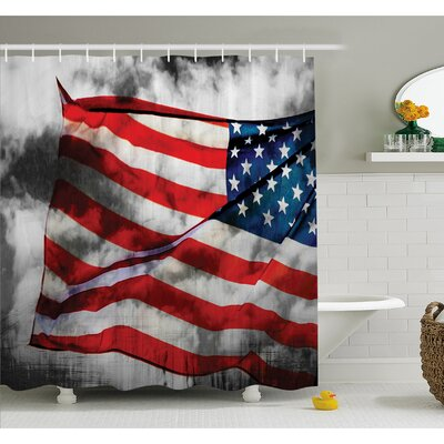 American Flag Banner in the Sky on Cloudy Mist Display National Symbol Proud of Heritage Shower Curtain Set Size: 84 H x 69 W