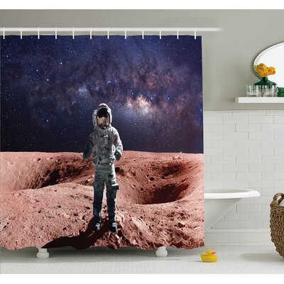 Outer Space Astronaut Mercury before Milky Way Cosmos Meteor Fantasy Art Shower Curtain Set Size: 75 H x 69 W