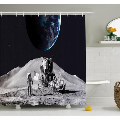 Outer Space Moon US Spaceman Launching on the Exploring Dark Matter Orbit Luna Design  Shower Curtain Set Size: 70 H x 69 W