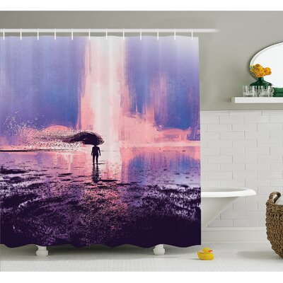 Trippy Spiritual Wind with Blowing Long Hair on the Water Shower Curtain Set Size: 75 H x 69 W