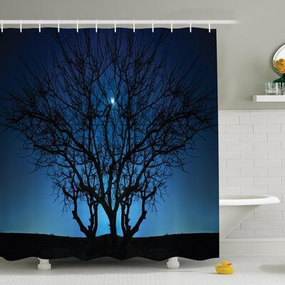 Night Moon Cosmos Shower Curtain Set Size: 70 H x 69 W
