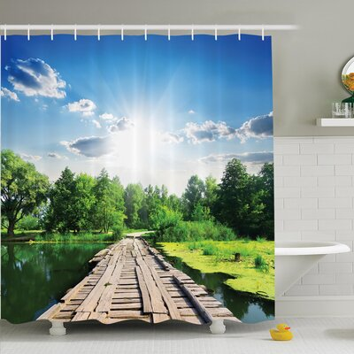 Nature Wooden Bridge on River Shower Curtain Set Size: 75 H x 69 W
